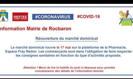 RÉOUVERTURE DU MARCHÉ DOMINICAL