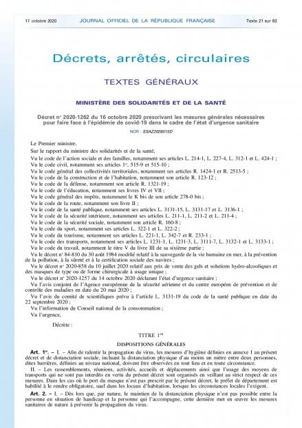 Décret du 16 octobre 2020 prescrivant les mesures générales nécessaires face au COVID-19