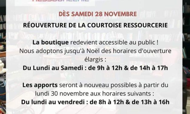 RÉOUVERTURE DE LA RESSOURCERIE LA COURTOISE