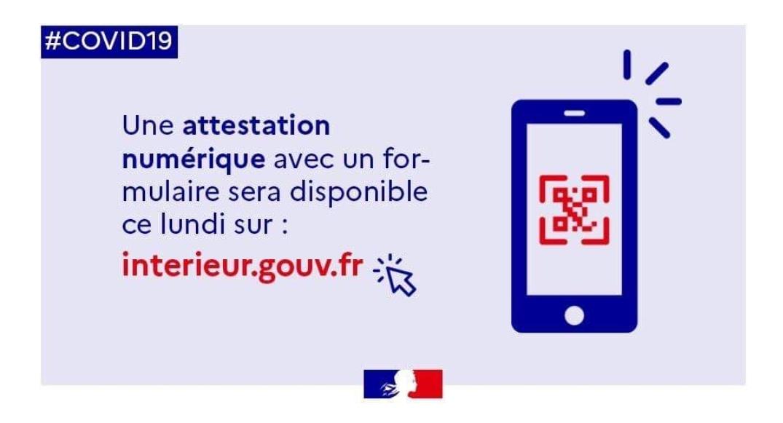 NOUVELLE ATTESTATION DÉROGATOIRE NUMÉRIQUE DISPONIBLE DÈS LUNDI
