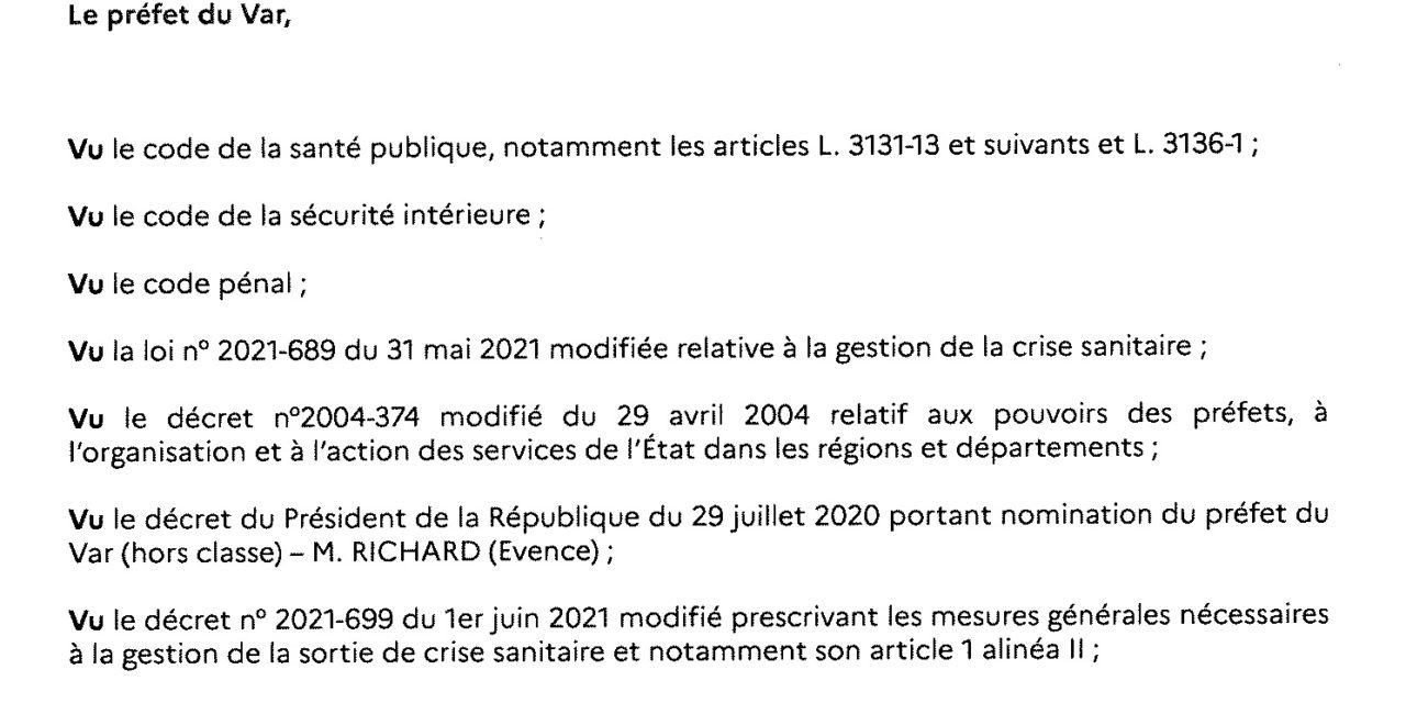 Arrêté préfectoral port du masque 12.10.2021