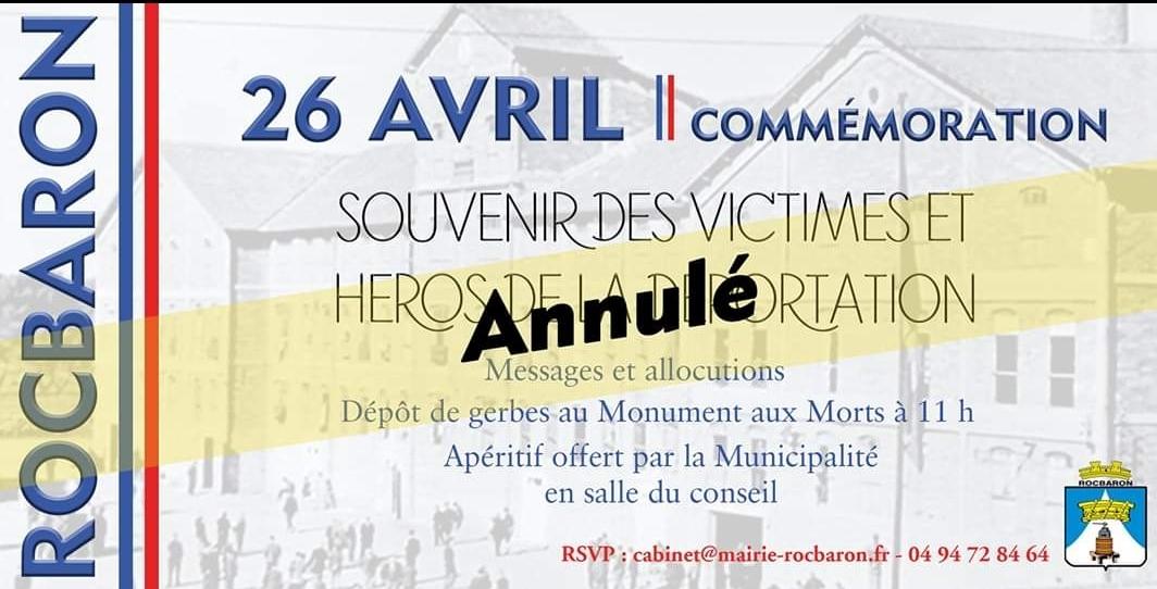 LES CÉRÉMONIES PATRIOTIQUES ANNULÉES JUSQU' AU 11 MAI