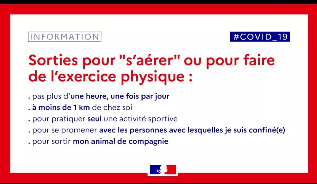 INFORMATION DE L'ÉTAT: LES SORTIES POUR S'AÉRER OU POUR FAIRE DE L'EXERCICE
