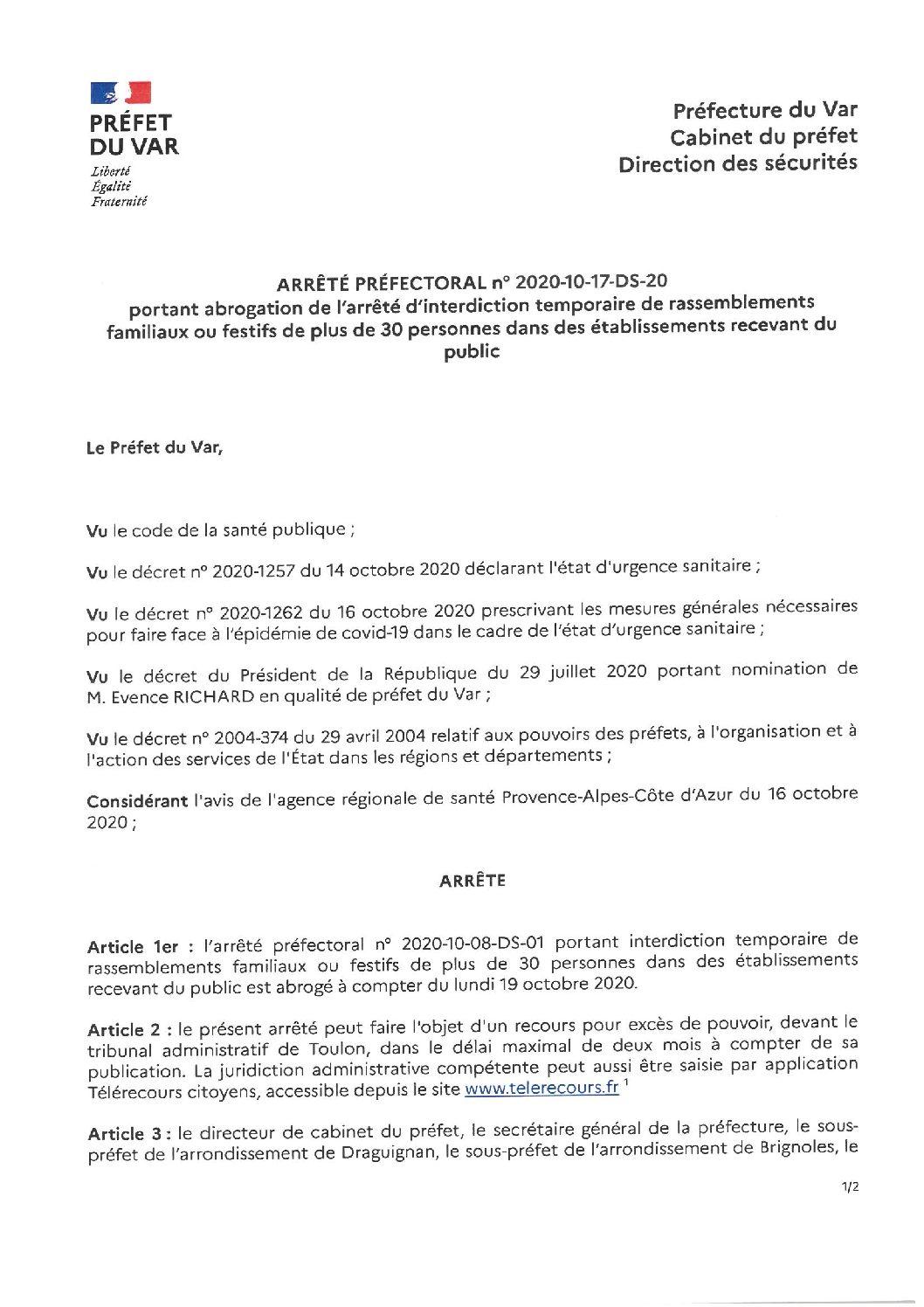 Arrêté préfectoral portant interdiction temporaire de rassemblements familiaux ou festifs de plus de 30 personnes
