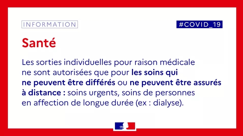 INFORMATION DE L'ÉTAT CONCERNANT LES SOINS PENDANT LE CONFINEMENT